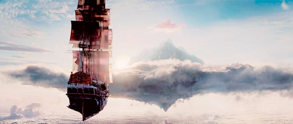 Navio de pirata flutuando no céu, com nuvens