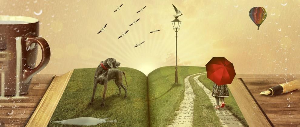 Ilustração de um livro aberto com um cachorro e garota com guarda chuva