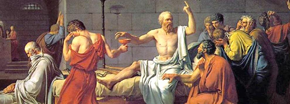 Representação artística de Sócrates, pouco antes de ingerir a cicuta (sua morte).