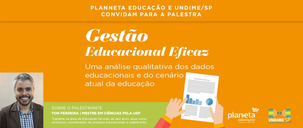 """Banner do evento """"palestra da UNDIME-SP e Planneta Educação sobre Gestão Educacional"""""""